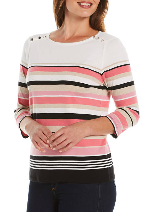 Womens 3/4 Sleeve Striped Button Shoulder Top