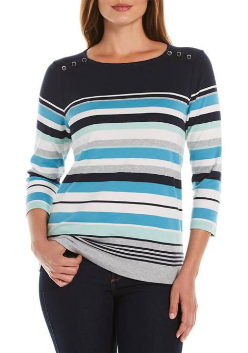 Rafaella Womens Engineered Stripe Knit Top