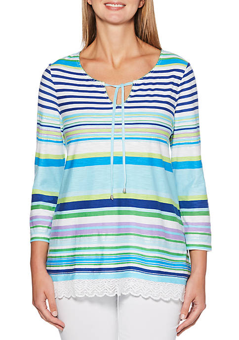 Rafaella Embroidered Stripe Tunic
