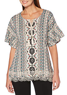 Place Stamp Lace Trim Top