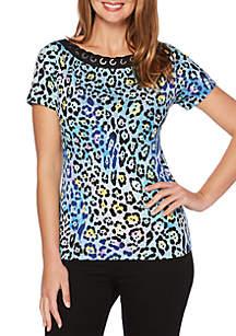 Printed Leopard Corded Short Sleeve Top