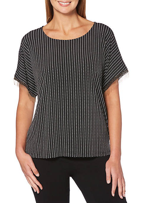 Rafaella Dots and Dash Dolman Sleeve Top