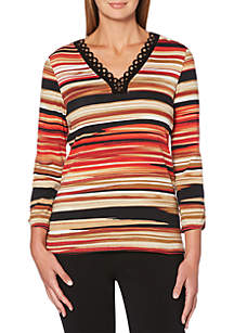 Stripe Print Grommet Top