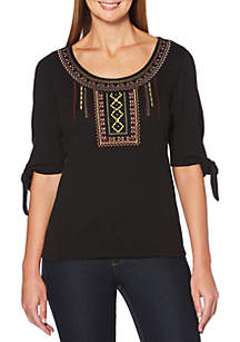 Solid Embroidered Tie Sleeve Top