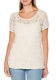 Solid Corded Lace Top