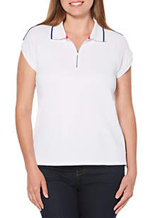 Textured Jersey Striped Polo Tee