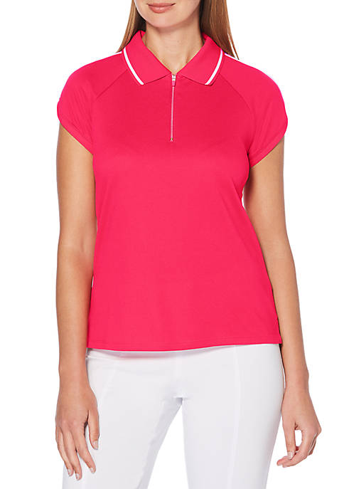 Rafaella Textured Jersey Striped Polo Tee