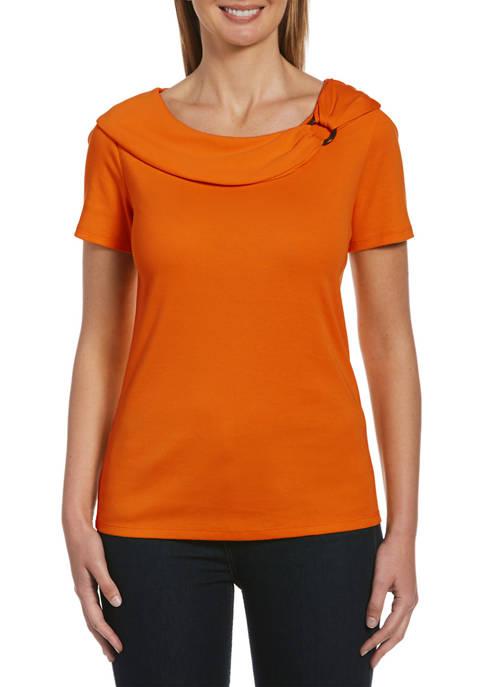 Rafaella Womens Solid Short Sleeve Hardware Top