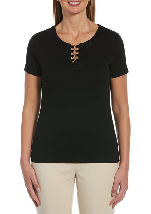 Rafaella Solid Short Sleeve Top With Split Neck