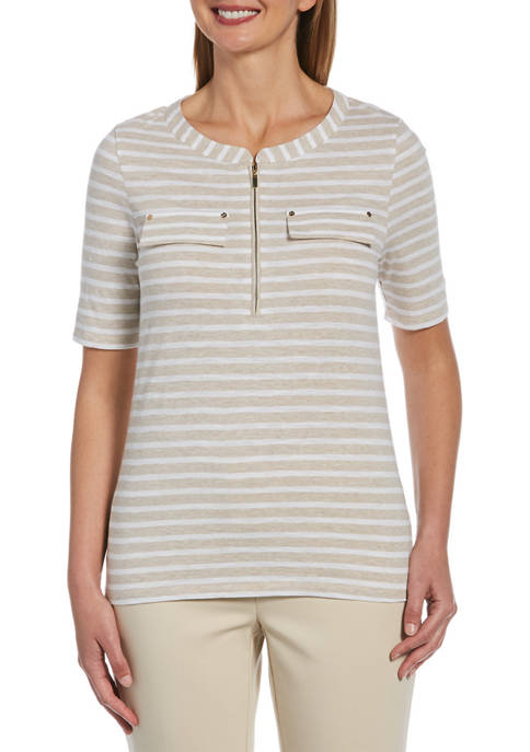 Striped Zip Front Elbow Sleeve Top