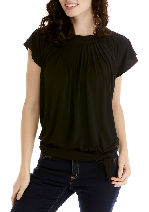 Womens Solid Side Tie Flutter Sleeve Top