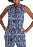 Womens Ikat Sleeveless Embroidered Tassel Top
