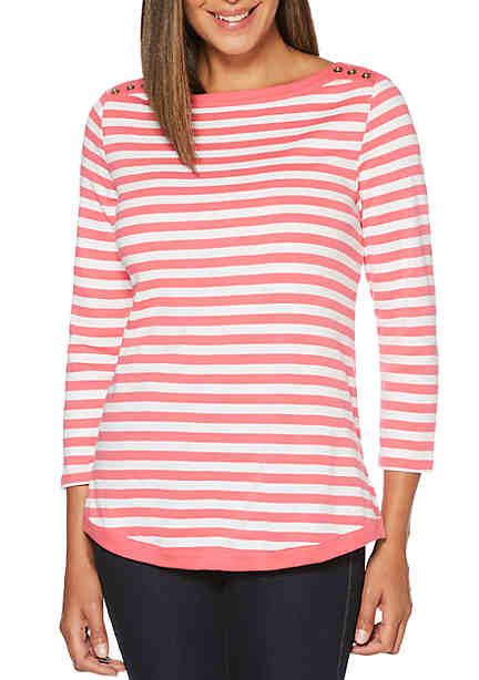 Rafaella Yarn Dye Stripe Getaway Top ...