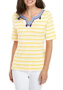 Yarn Dye Stripe Fringe Top