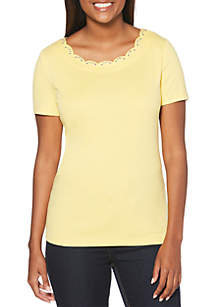 Rafaella Scallop Neck Top