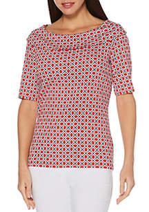 Rafaella Octagon Geo Print T Shirt