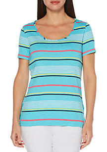 Rafaella Varying Stripes Rib T Shirt