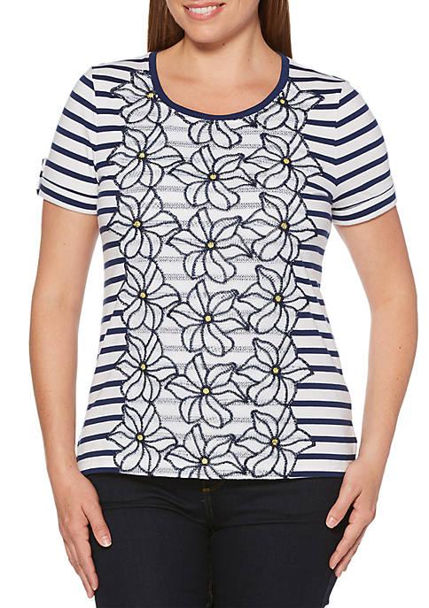 Rafaella Perfect Stripe and Lace Top