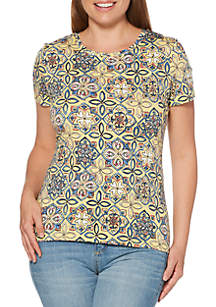 Rafaella Watercolor Tile Modal Tee