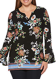 Rafaella Floral Bell Sleeve Tunic