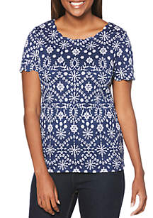 Rafaella Eyelet Printed Scallop Top