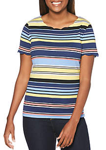 Rafaella Stripe Printed Scallop Trim Top