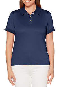 Rafaella Solid Short Sleeve Ruffle Polo Shirt