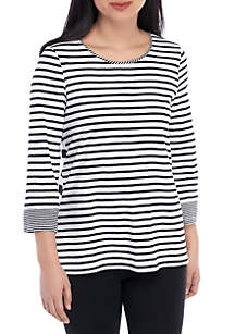 Rafaella Feeder Stripe Slub Top