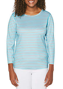 Rafaella Reversible Stripe Scuba Top