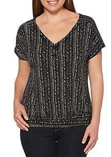Rafaella Twill Textured Banded Top
