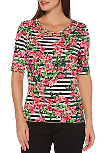 Rafaella Blossom Floral and Stripe Top