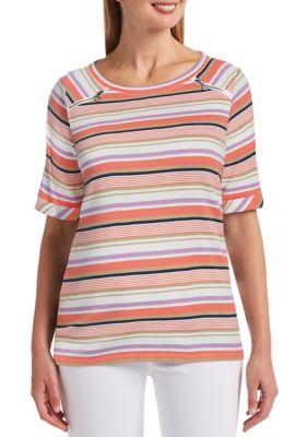 Rafaella Women's Multi Stripe Elbow Sleeve Boat Neck Tunic