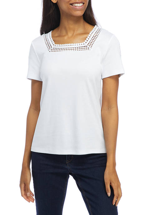 Womens Short Sleeve Square Neck Top with Lace Trim