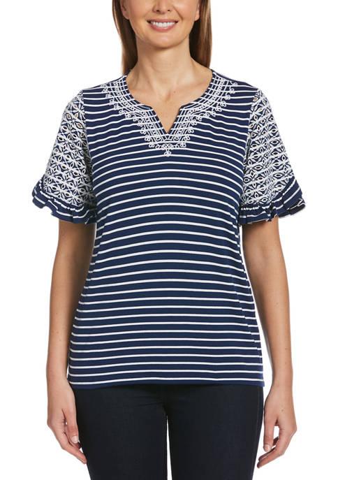 Womens Short Sleeve Yarn Dye Embroidered Ruffle Sleeve T-Shirt