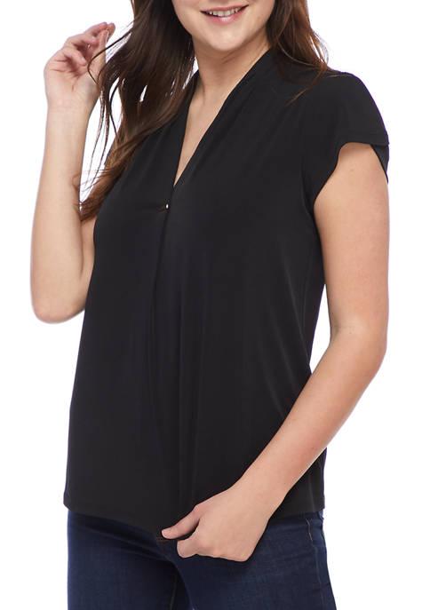 Rafaella Womens Cap Sleeve Pleat Neck Top