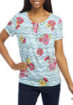 Womens Short Sleeve Floral Chevron Top