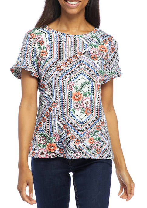 Womens Short Ruffle Sleeve Geometric Floral Top