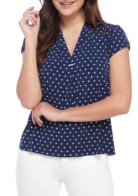 Womens Starband Dot Cap Sleeve Top