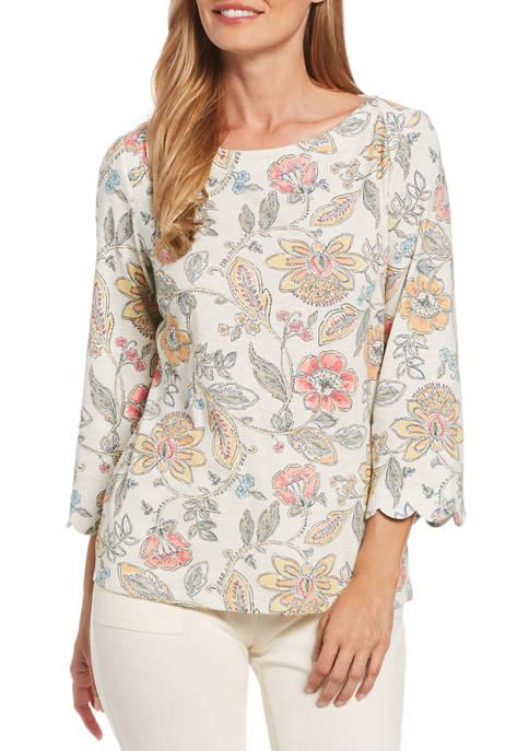 Womens Floral Slub Knit Top