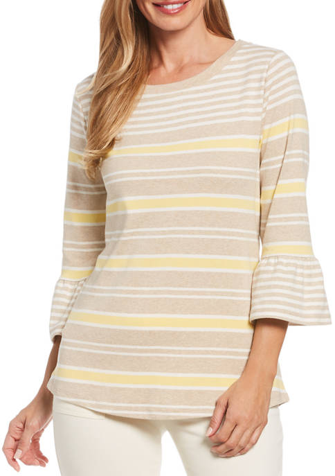 Womens Striped Bell Sleeve Top