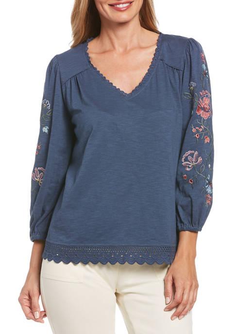 Rafaella Womens Floral Embroidered Blouson Sleeve Top