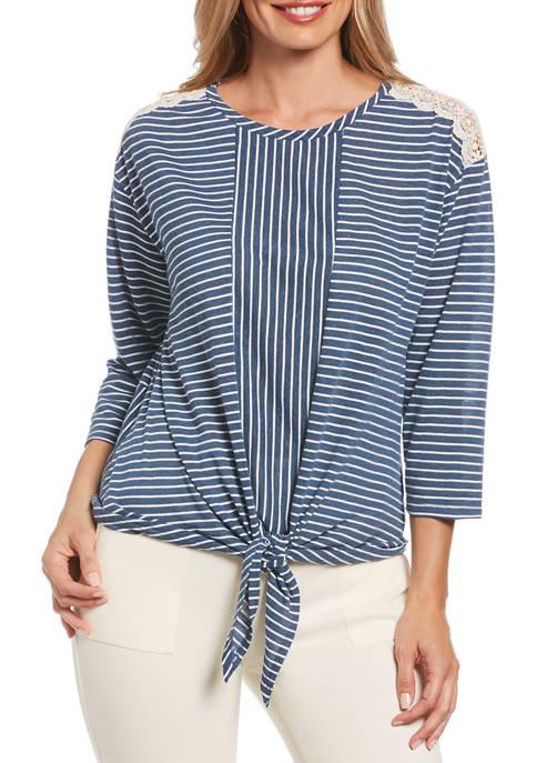 Womens Striped Tie Front Crochet Shoulder Top