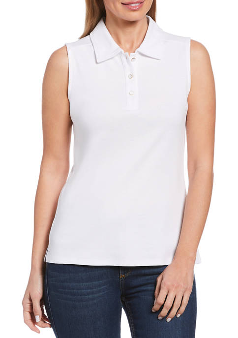 Womens Solid Rib Knit Sleeveless Polo Shirt