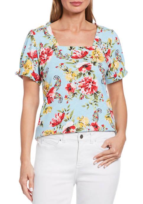 Womens Bouquet Print Knit Short Sleeve Top