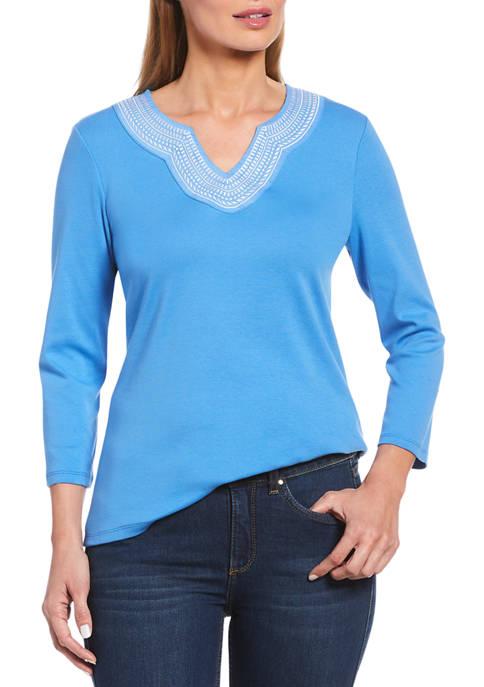 Rafaella Womens Rib Knit 3/4 Sleeve Top With