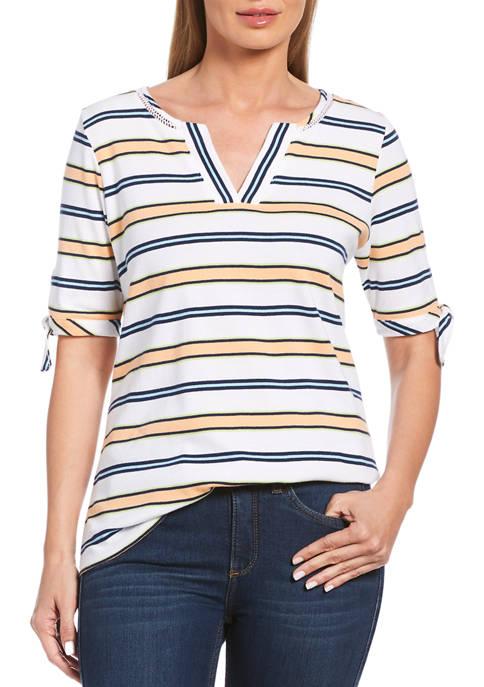Rafaella Womens Multicolor Stripe Tie Elbow Sleeve Top
