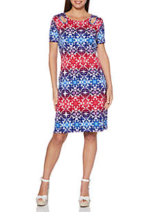 Multi Tie Dye Printed Lace-Up Shoulder Dress