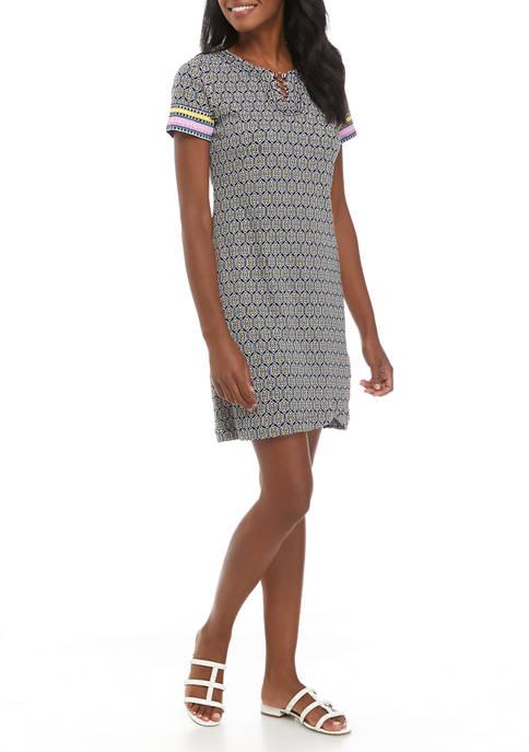 Rafaella Womens Ikat Printed Dress with Ring Hardware
