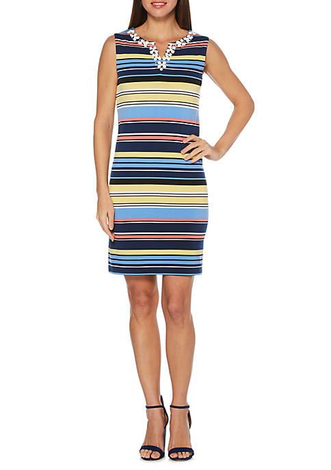 Sleeveless Stripe Knit Dress