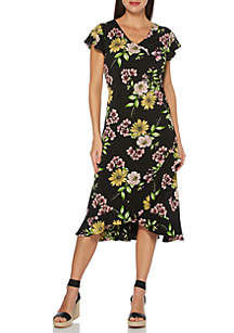 Rafaella Floral A Line Midi Dress